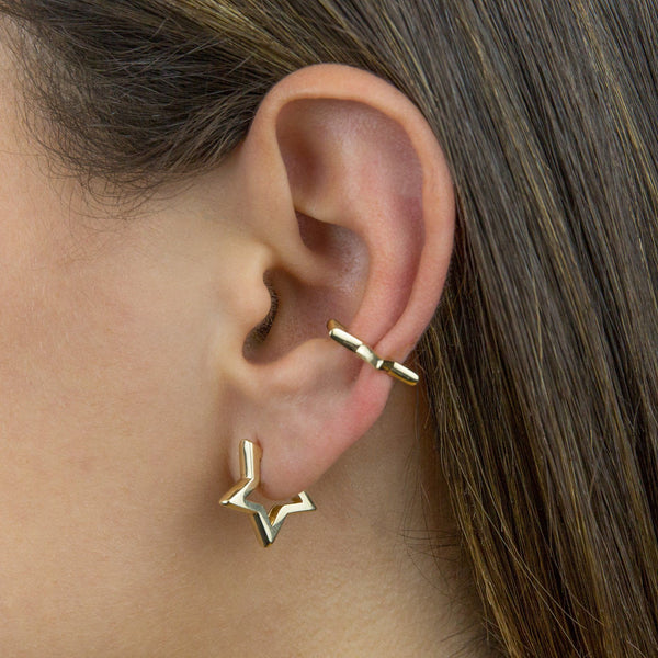Open Star Stud Earring 14K