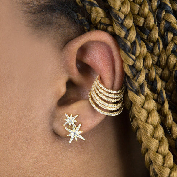Large Pavé Cascading Multi Row Ear Cuff
