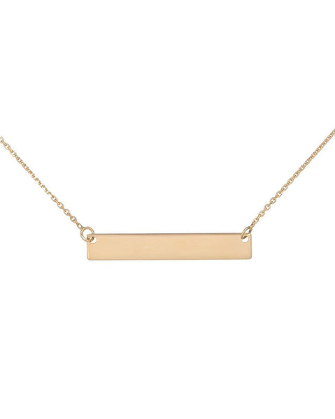 Gold / Engraved Engraved Bar Name Necklace - Adina's Jewels