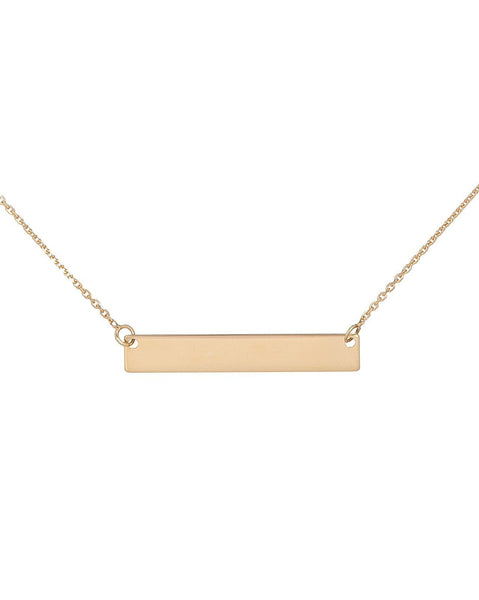 14K Gold / Engraved Engraved Bar Necklace 14K - Adina's Jewels