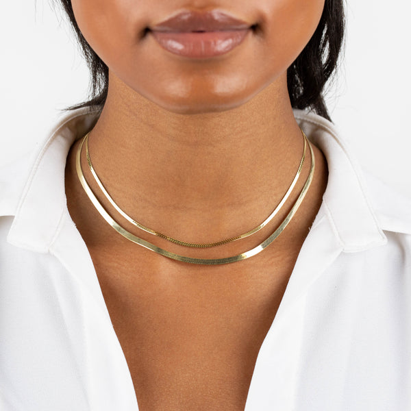 Snake X Herringbone Chain Necklace Combo Set - Adina's Jewels