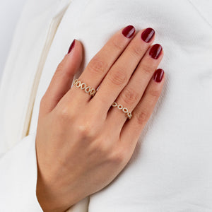 Diamond X Solid Teardrop Ring 14K - Adina's Jewels