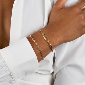 Super Hollow Chunky Paperclip Bracelet 14K - Adina's Jewels