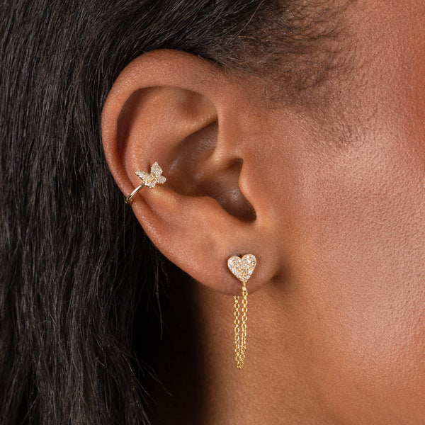 Diamond Butterfly Ear Cuff 14K - Adina's Jewels