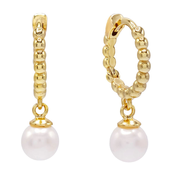 Pearl White Beaded Pearl Huggie Earring - Adina's Jewels