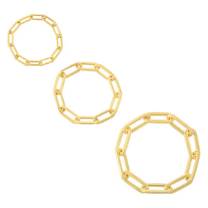 Trio Paperclip Chain Ring Set Gold / 6 - Adina's Jewels