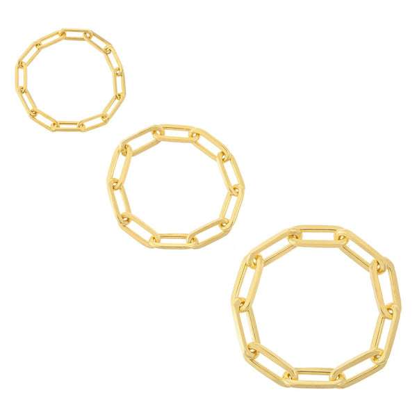 Trio Paperclip Chain Ring Set Gold / 7 - Adina's Jewels