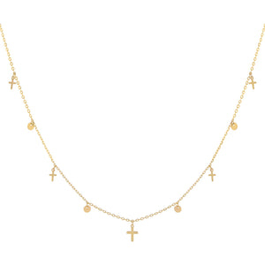 14K Gold Tiny Cross X Disc Necklace 14K - Adina's Jewels