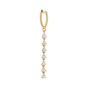 14K Gold / Single Diamond Multi Stone Drop Huggie Earring 14K - Adina's Jewels
