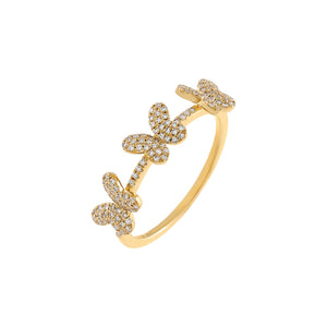 14K Gold / 7 Diamond Triple Butterfly Ring 14K - Adina's Jewels