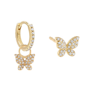14K Gold Diamond Butterfly Earring Combo Set 14K - Adina's Jewels