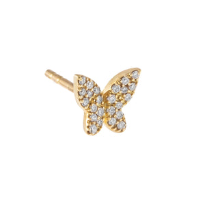 14K Gold / Single Diamond Butterfly Stud Earring 14K - Adina's Jewels