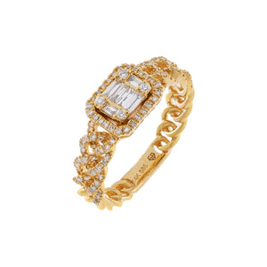 14K Gold / 6.5 Diamond Illusion Cuban Chain Ring 14K - Adina's Jewels