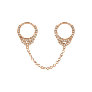 "14K Rose Gold / Single / 1"" Diamond Handcuff Chain Huggie Earring 14K - Adina's Jewels"