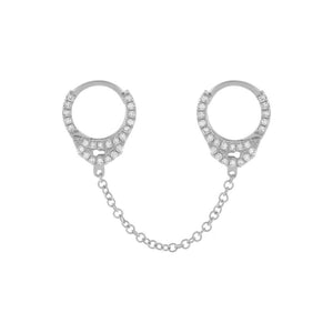 "14K White Gold / Single / 1"" Diamond Handcuff Chain Huggie Earring 14K - Adina's Jewels"