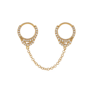 "14K Gold / Single / 1"" Diamond Handcuff Chain Huggie Earring 14K - Adina's Jewels"