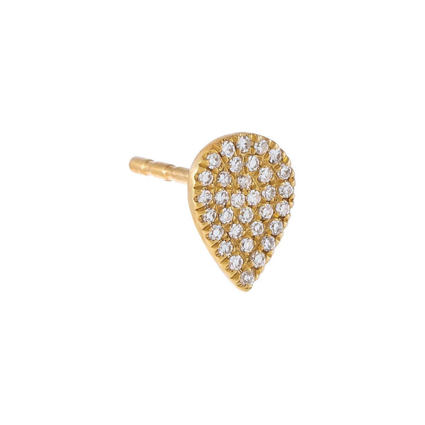 14K Gold / 8 MM / Single Diamond Pavé Teardrop Stud Earring 14K - Adina's Jewels