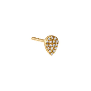 14K Gold / 5 MM / Single Diamond Pavé Teardrop Stud Earring 14K - Adina's Jewels