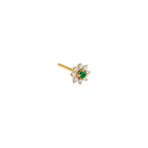 Emerald Green / Single Diamond Colored Flower Stud Earring 14K - Adina's Jewels