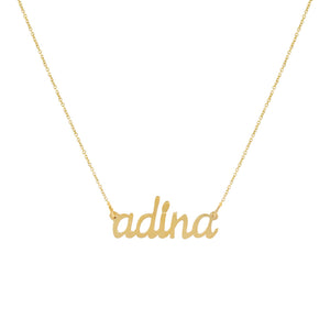 14K Gold Lowercase Script Nameplate Necklace 14K - Adina's Jewels