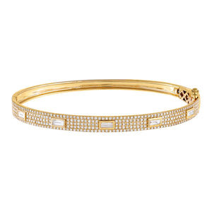 14K Gold Diamond Baguette X Pavé Bangle 14K - Adina's Jewels