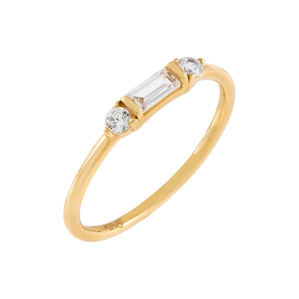 14K Gold / 7 CZ Dainty Baguette Ring 14K - Adina's Jewels