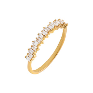14K Gold / 7 Diamond Baguette Band 14K - Adina's Jewels