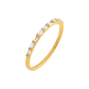 14K Gold / 7 Diamond Dainty Multi-Baguette Band 14K - Adina's Jewels