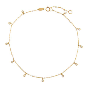 14K Gold CZ Bezel Dangle Anklet 14K - Adina's Jewels