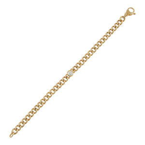 14K Gold Diamond Bezel X Cuban Link Bracelet 14K - Adina's Jewels