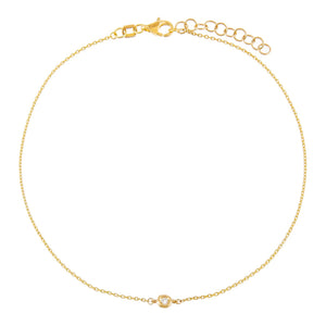 14K Gold Tiny Diamond Bezel Anklet 14K - Adina's Jewels
