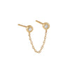 14K Gold / Single Diamond Double Bezel Chain Stud Earring 14K - Adina's Jewels