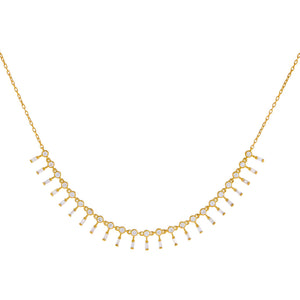 14K Gold Diamond Bezel X Baguette Dangle Necklace 14K - Adina's Jewels