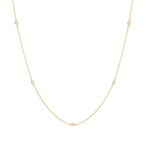 14K Gold Diamond Bezel Necklace 14K - Adina's Jewels