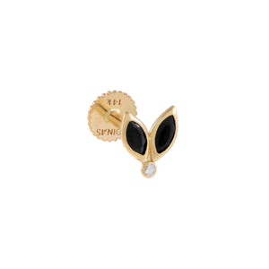 Onyx / Single Tiny Onyx Marquise Threaded Stud Earring 14K - Adina's Jewels