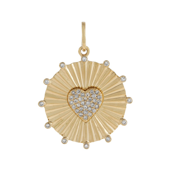 14K Gold Diamond Heart Coin Charm 14K - Adina's Jewels