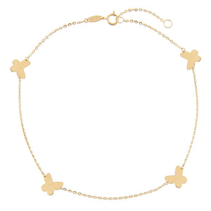 14K Gold Butterfly Anklet 14K - Adina's Jewels