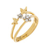 14K Gold / 6 CZ Flower X Butterfly Ring 14K - Adina's Jewels