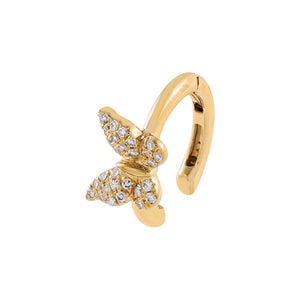 14K Gold / Single Diamond Butterfly Ear Cuff 14K - Adina's Jewels