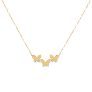 14K Gold CZ Triple Butterfly Necklace 14K - Adina's Jewels