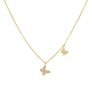 14K Gold Diamond X Solid Butterfly Necklace 14K - Adina's Jewels
