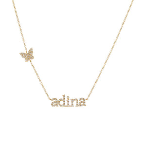 Diamond Butterfly Lowercase Nameplate Necklace 14K