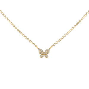 14K Gold Diamond Butterfly Necklace 14K - Adina's Jewels