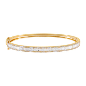14K Gold Diamond Pavé X Baguette Bangle 14K - Adina's Jewels