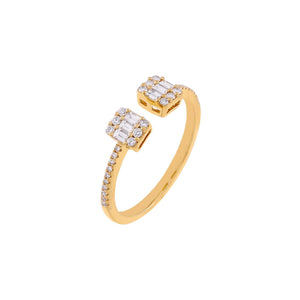 14K Gold Diamond Illusion Baguette Adjustable Ring 14K - Adina's Jewels