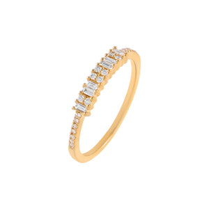 14K Gold / 7 Diamond Pavé X Baguette Band 14K - Adina's Jewels
