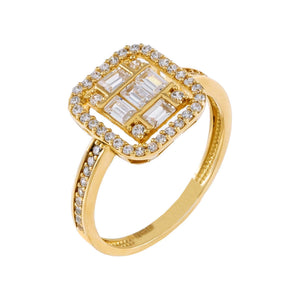 CZ Illusion Baguette Ring 14K