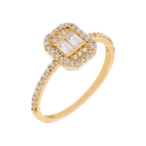 14K Gold / 6 CZ Baguette Ring 14K - Adina's Jewels