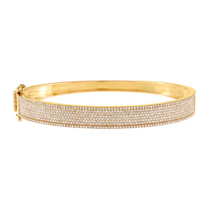 14K Gold Diamond Extra Wide Bangle 14K - Adina's Jewels
