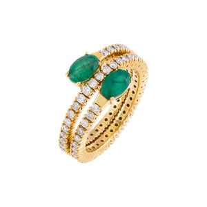 Diamond X Emerald Stretch Wrap Ring 14K